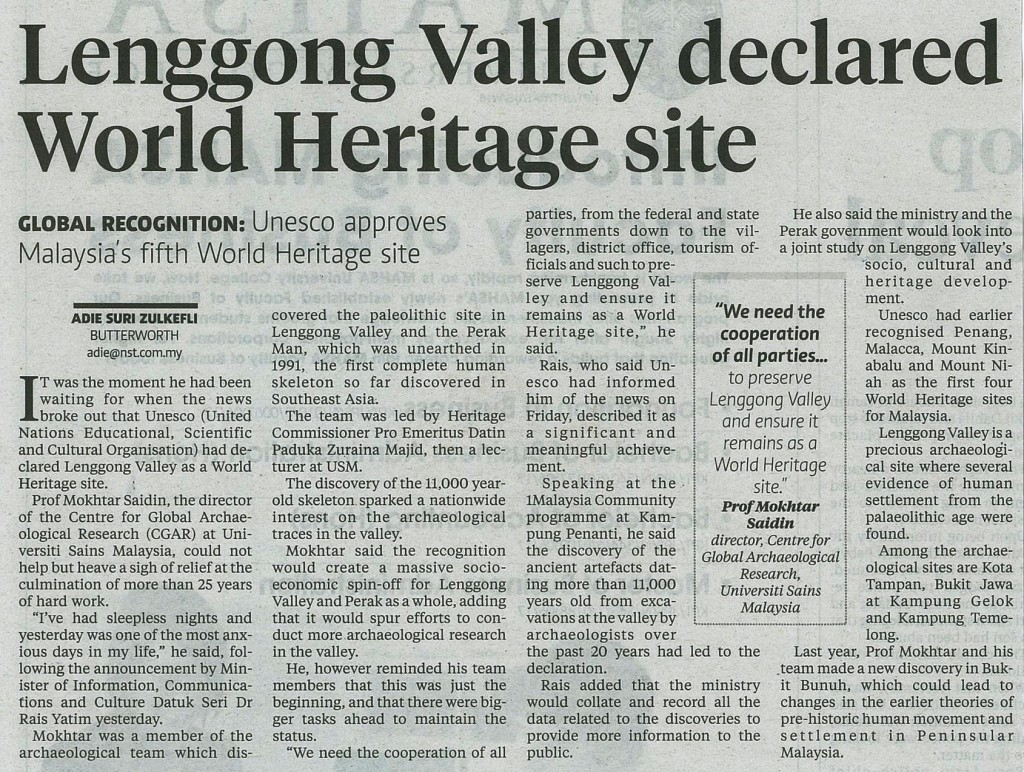 2 Julai 2012 - Lenggong Valley declared World Heritage site NST
